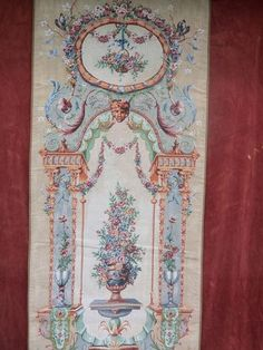 "Long 71"" x 28"" French Rococo Style Terrace Tapestry Wall Hanging Made in France"