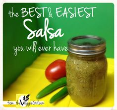 The Best & Easiest Salsa you will ever have! Only 5 ingredients. Texas girl approved. #Vegan #Gluten-Free // theVeggieGirl.com