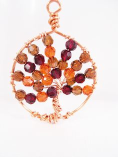 Autumn Crystal Copper Tree of Life Necklace. $30.00, via Etsy.