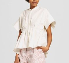 Victoria Beckham Women's White Poplin Gathered Waist Top - Size S