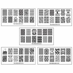 Bundle Monster 5pc Polynesian Themed Nail Art Design Rectangular XL Stamping Plates-Traditional Polynesia