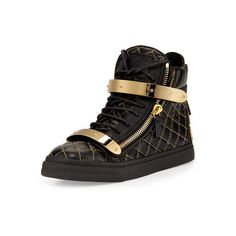 Giuseppe Zanotti Quilted Leather High-Top Sneaker ($656) ❤ liked on Polyvore featuring shoes, sneakers, lace up sneakers, round toe shoes, lace up shoes, laced sneakers and high top shoes