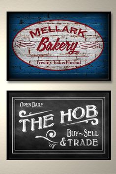 Cool HUNGER GAMES art. A pair of posters. One for the Mellark Bakery and the other for The Hob.