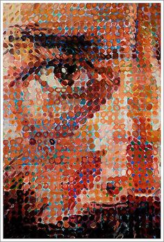 "Chuck Close at the Met    Chuck Close, American, born 1940    ""Lucas""  1987-1987  Oil and pencil on canvas"