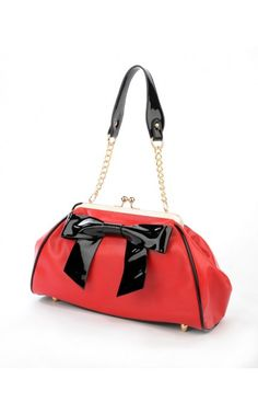 Pinup Couture- Bow Handbag in Red Vinyl with Black Vinyl Trim | Pinup Girl Clothing