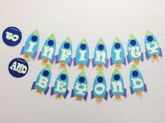 Rocket Ship Birthday Banner ; Outer Space Party Decor ; Alien Birthday Party