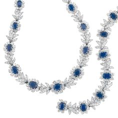 Important Estate Jewelry - Doyle New York. Platinum, Sapphire and Diamond Necklace and Bracelet, Chantecler Capri. Composed of sapphire and diamond flowers spaced by diamond-set leaves, set with 23 oval sapphires and one emerald-cut sapphire approx 31.50 cts., and 484 round and single-cut diamonds approx 33.20 cts., the necklace signed Chantecler, the bracelet signed Chantecler Capri, approx 76 dwt. Lengths 15 3/4 and 7 1/8 inches. Sold for $43,750