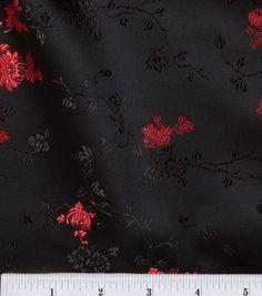 Brocade Fabric Small Red Mum On Black