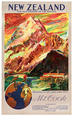 New Zealand Mt. Cook Vintage Travel Poster Painting by Carsten Reisinger