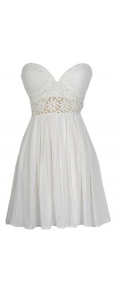 Lily Boutique Fresh As A Daisy Strapless Lace Bustier Dress in White, $56  www.lilyboutique.com