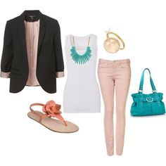 """""""Turquoise and Peach"""" by juarezcourtney on Polyvore"""