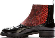 Christopher Kane: Black Leather Slip-On Brogue Boots