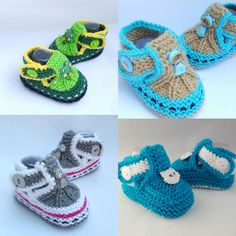 Knitted baby booties with different by NadiaKnittedCreation