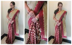 A Beautiful Mesmerizing Maroon Chanderi Silk with Golden Polka Dots Pleetes....With an Elegant Beige Coloured Embroidered Border and Bhuttas Pallu...A One-of-its-kind Embroidered Curved border is something we at SevenFolds, loved and are happy to be the First to do it! :) Makes this Designer Saree worthy of every penny you give! Just make this yours and Grab the attention...!