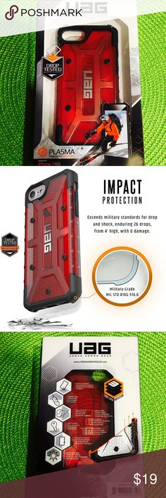 UAG Plasma Series iPhone 7/6s Case Urban Armor Gear Plasma Series iPhone 7/6s Case Military Drop Tested iPhone Case ! 100% new IN BOX,  Retail price $39.95, I'm asking $19 Color: magma (red) Case compatible with iPhone 7 / 6s  Armor shell and impact resistant soft core Feather-light composite construction Oversized tactile buttons Easy access to touchscreen and ports Scratch resistant skid pads and screen surround Apple Pay compatible  military drop-test standards (MIL STD 810G 516.6) Urban…