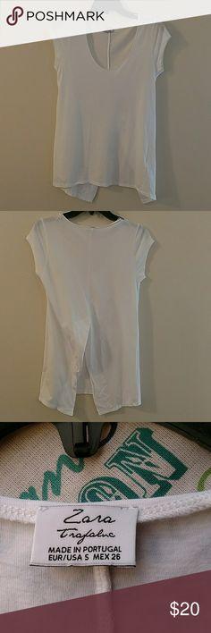 Zara open tail t shirt Like new , crisp white t shirt with split lower back ( tail) Zara Tops Tees - Short Sleeve
