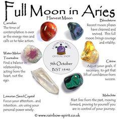* Crystals for Full Moon in Aries, Harvest Moon - Bloodstone, Carnelian, Citrine. * Crystals for F Crystal Guide, Crystal Magic, Crystal Shop, Crystals Minerals, Crystals And Gemstones, Stones And Crystals, Chakras, Full Moon In Aries, Crystal Healing Stones