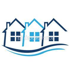 Blue houses for real estate identity card logo vector — Stock Illustration #53994607