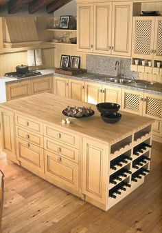 Kitchen island Wine Rack - Kitchen Trash Can Ideas Check more at http://www.entropiads.com/kitchen-island-wine-rack/