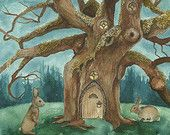 """A Visit to House of Crow // 5""""x7"""" Art Print - Forest Illustration #art #illustration"""