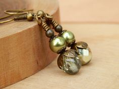 Olive Green dangle earrings olive drop earrings by SheJustSaidYes, $13.00