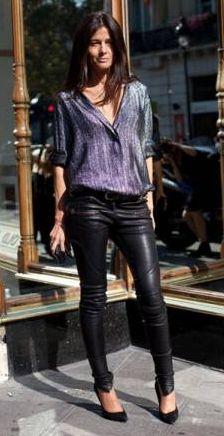 leather pants, silk print