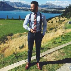 Suit With Suspenders, Suspenders Fashion, Suspenders Outfit, Suit And Tie, Homecoming Outfits For Guys, Homecoming Dresses, Gents Fashion, Fashion Suits, Sunday Outfits