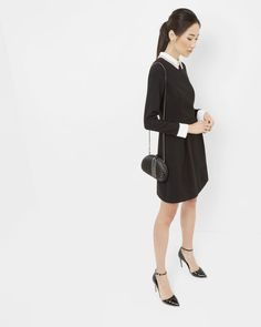 Embellished collared dress - Black | Dresses | Ted Baker