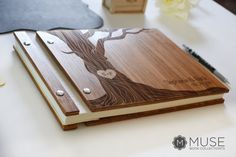 Custom Wood Wedding Guest Book Anniversary by MuseBookCollections