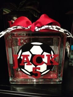 Sports Personalized Vinyl Glass Block Light
