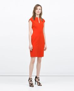 fitted dress orange red | ZARA summer 2015 #springtype #lentetype