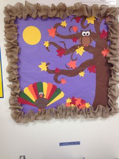 Fall/Thanksgiving bulletin board, complete with turkey, owl, fall leaves and burlap border.