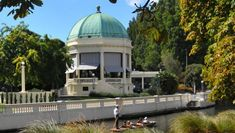 The Thomas Edmonds Band Rotunda on the banks of the Avon River, pictured pre-quakes. Moving To New Zealand, High Renaissance, Curved Staircase, Avon, Taj Mahal, Restoration, River, Band, Building