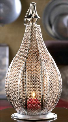 Silver Teardrop Moroccan ornate shabby Candle Holder Lantern