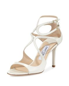 Ivette+Strappy+Patent+Sandal,+Latte+by+Jimmy+Choo+at+Neiman+Marcus.