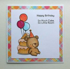Card critters bear balloon balloons cake MFT Beary Special Birthday Die-namics stamp set #mftstamps Lawn Fawn Perfectly plaid paper - JKE