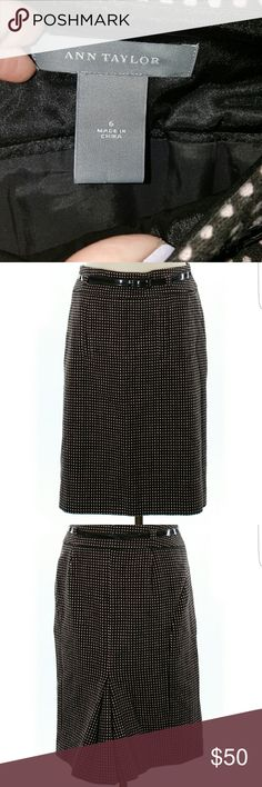 """Ann Taylor wool skirt - like new Pleated, shift-sheath. 24"""" length. Brown with small light pink polka dots. Comes with matching brown patent belt. 52% wool/31% cotton/17% nylon. Ann Taylor Skirts Pencil"""