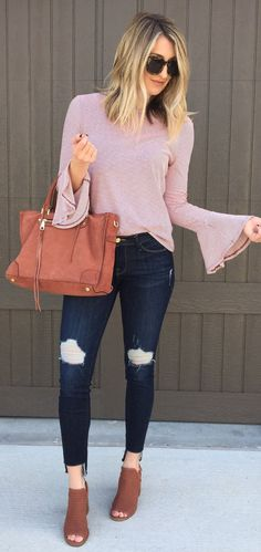 Pink Knit / Brown Suede Tote Bag / Ripped Skinny Jeans / Brown Open Toe Booties