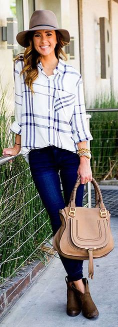 White Plaid Button Up Fall Inspo by Sequins & Things