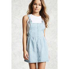 Forever21 Denim Overall Dress ($28) ❤ liked on Polyvore featuring dresses, medium denim, denim button dress, forever 21 dresses, forever 21, full length denim dress and blue sleeveless dress
