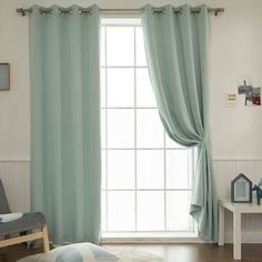 "Mint Solid Blackout Curtains Eyelet Grommet Nursery Curtains 102""W X 92""H Pair #Handmade #Modern"