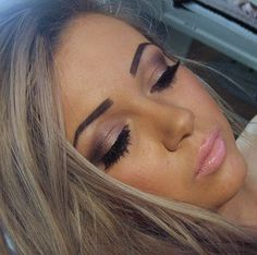 Love pink lips. Love the eye make up but seems like every make up style that is pretty uses fake eyelashes!