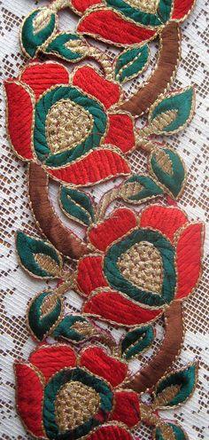Fancy embroidered metallic thread trims