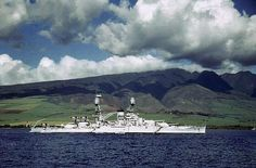 Battleship USS Nevada at anchor at Lahaina Roads Territory of Hawaii pre-war. Note SOC Seagull scout aircraft on Nevadas catapults.