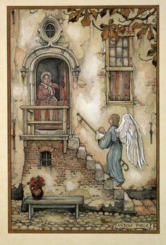 Zeichnung von Anton Franciscus Pieck (* April 1895 in Den Helder; Anton Pieck, Elves And Fairies, Les Religions, Dutch Painters, Dutch Artists, 3d Prints, Fantasy Illustration, Fantastic Art, Portraits