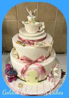 Alice in Wonderland christening cake  by Goldie's cupcake