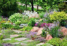 Natürlich gestalteter Garten mit bewachsenen Steinen und blühenden Sträuchern.
