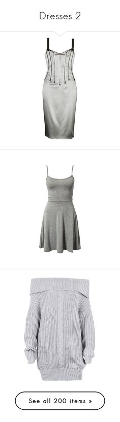 """Dresses 2"" by smilie-anne ❤ liked on Polyvore featuring dresses, evening dresses, grey, v neck dress, zipper corset, open-back dresses, v neck cocktail dress, fringe cocktail dresses, vestidos and green cami dress"