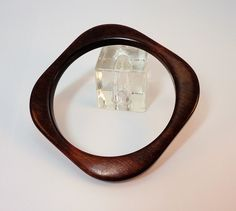 70s Brown wood square saucer bangle bracelet by LoukiesWorld on Etsy