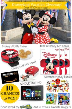 Enter through March to win a Disneyland Vacation Giveaway, plus other great prizes. Disneyland Vacation Packages, Disneyland Tickets, Disney Vacations, Disneyland Tips, Mickey Waffle Maker, Disney Gift, Card Maker, Making Ideas, Like You